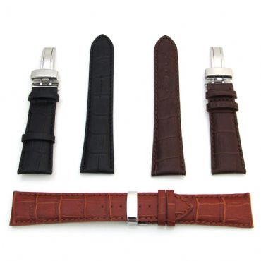 Mens Watch Strap Leather Band Deployment Clasp Crocodile Style